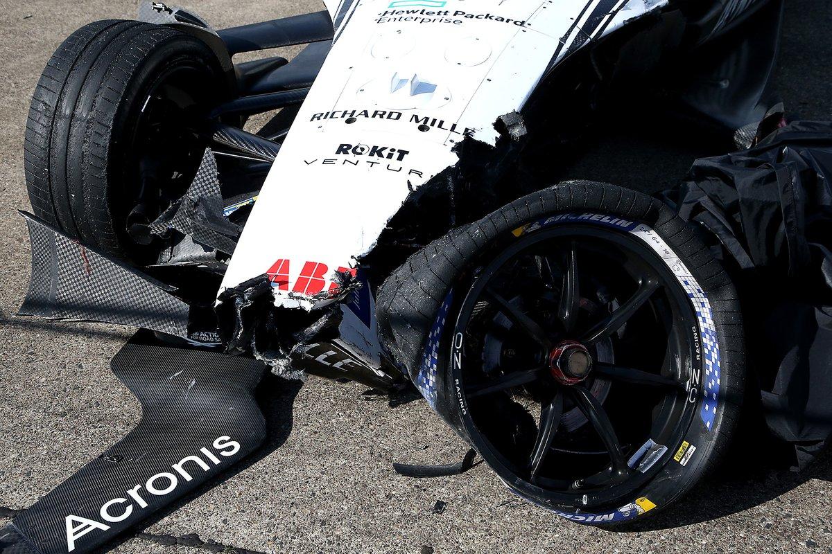 Coche dañado de Edoardo Mortara, Venturi Racing, Mercedes-Benz EQ Silver Arrow 02