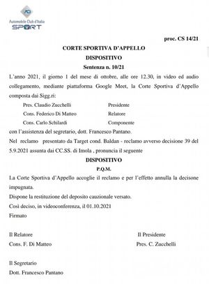 Decisione ACI Sport su appello Baldan