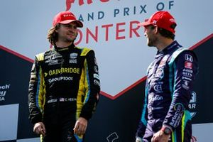 Podio: Colton Herta, Andretti Autosport with Curb-Agajanian Honda celebra la victoria, Romain Grosjean, Dale Coyne Racing with RWR Honda