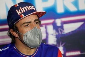 Fernando Alonso, Alpine A521 at the press conference