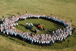 Daniel Ricciardo, McLaren, Lando Norris, McLaren celebrate with team members