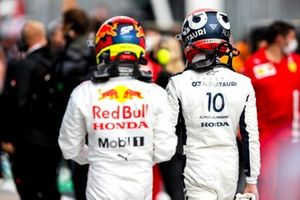 Sergio Perez, Red Bull Racing, and Pierre Gasly, AlphaTauri, in Parc Ferme after Qualifying
