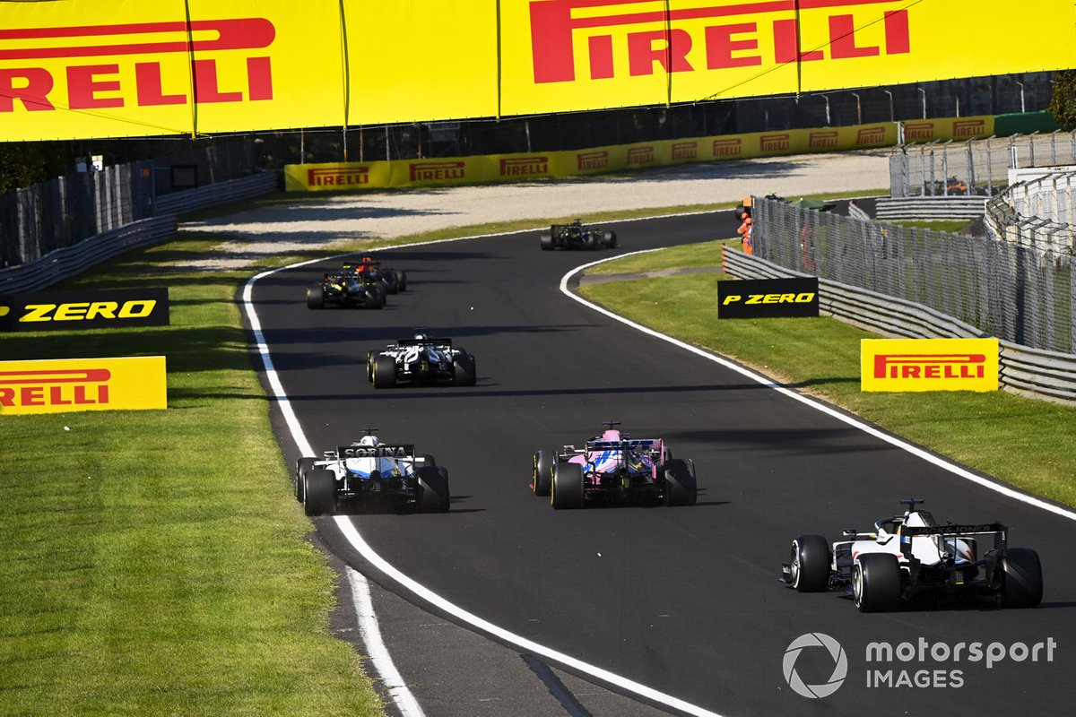 Daniil Kvyat, AlphaTauri AT01, George Russell, Williams FW43, Sergio Pérez, Racing Point RP20, Romain Grosjean, Haas VF-20