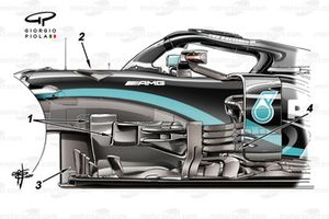 Mercedes AMG F1 W11 bargeboard at Spa with numbers