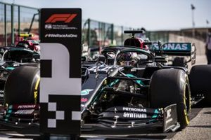 Lewis Hamilton, Mercedes F1 W11, arrives in Parc Ferme after Qualifying