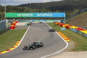 Lewis Hamilton, Mercedes F1 W11, Valtteri Bottas, Mercedes F1 W11, and Max Verstappen, Red Bull Racing RB16