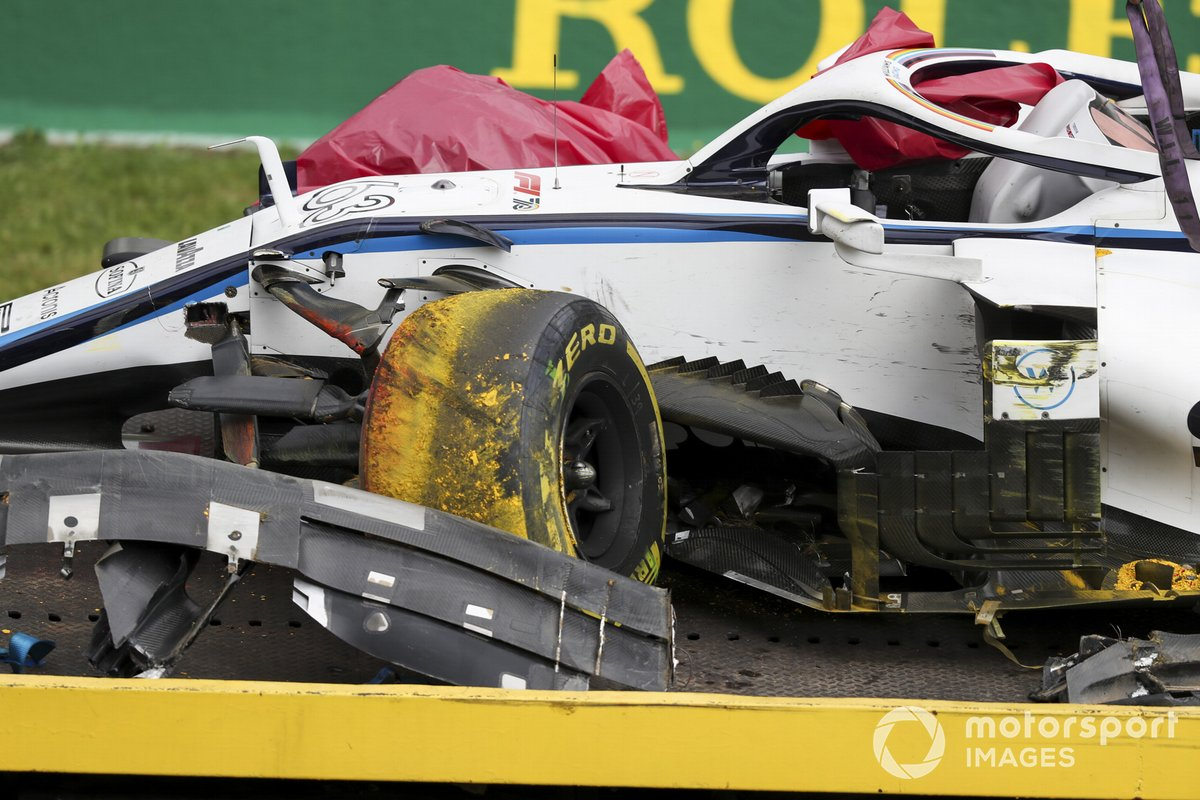 El monoplaza dañado de George Russell, Williams FW43