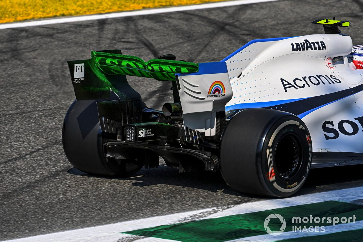 Flow-viz paint on the rear of Nicholas Latifi, Williams FW43