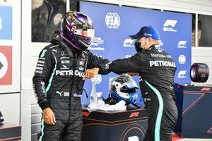 Pole man Lewis Hamilton, Mercedes-AMG F1, and Valtteri Bottas, Mercedes-AMG F1, congratulate each other in Parc Ferme