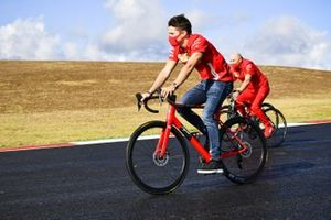 Charles Leclerc, Ferrari on a bike with Jock Clear, Race Engineer, Ferrari
