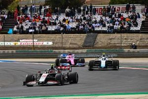 Kevin Magnussen, Haas VF-20, Nicholas Latifi, Williams FW43, and Sergio Perez, Racing Point RP20
