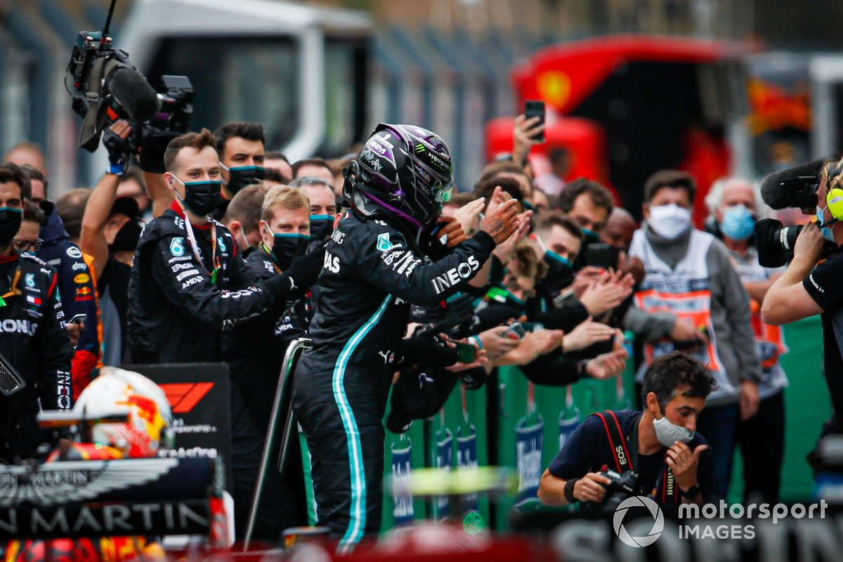 Lewis Hamilton, Mercedes-AMG F1, 1st position, celebrates in Parc Ferme after securing his record breaking 92nd win