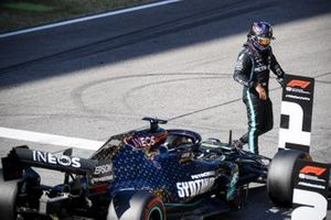 Lewis Hamilton, Mercedes-AMG F1, celebrates on the grid after securing pole