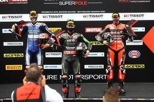 Loris Baz, Ten Kate Racing Yamaha, Jonathan Rea, Kawasaki Racing Team, Scott Redding, Aruba.it Racing Ducati pendant la super pole