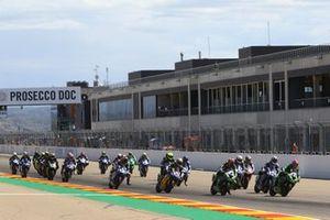 Philipp Oettl, Kawasaki Puccetti Racing, Lucas Mahias, Kawasaki Puccetti Racing lead the start