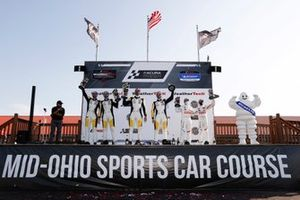 #4 Corvette Racing Corvette C8.R, GTLM: Oliver Gavin, Tommy Milner, #3 Corvette Racing Corvette C8.R, GTLM: Antonio Garcia, Jordan Taylor, #25 BMW Team RLL BMW M8 GTE, GTLM: Connor De Phillippi, Bruno Spengler, podium
