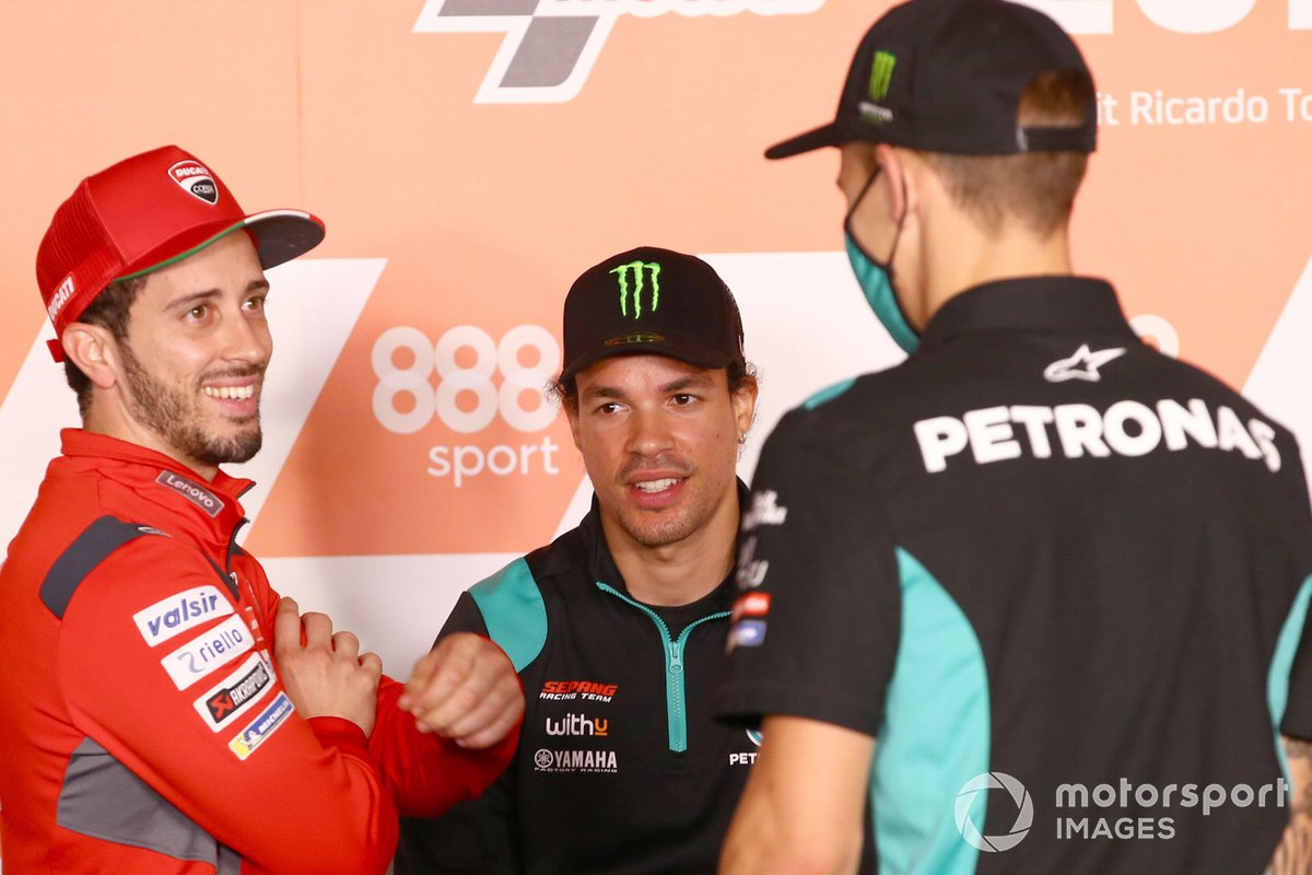 Andrea Dovizioso, Ducati Team, Franco Morbidelli, Petronas Yamaha SRT, Fabio Quartararo, Petronas Yamaha SRT