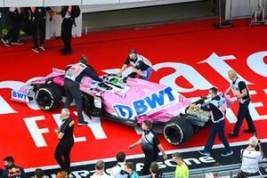 The car of Sergio Perez, Racing Point RP20, in Parc Ferme