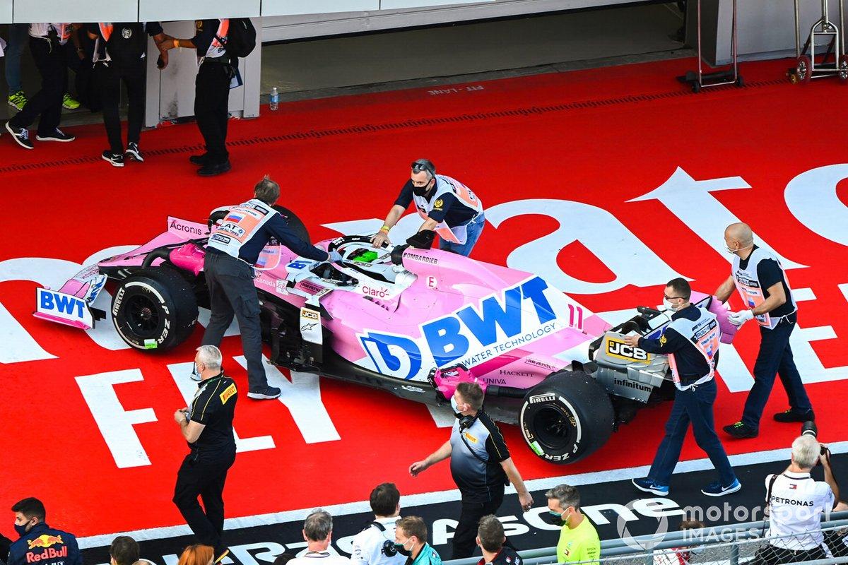 El monoplaza de Sergio Pérez, Racing Point RP20, en Parc Ferme