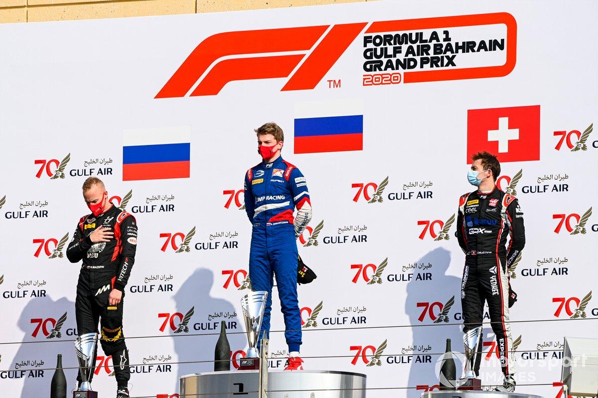 Nikita Mazepin, Hitech Grand Prix, Race Winner Robert Shwartzman, Prema Racing and Louis Deletraz, Charouz Racing System on the podium