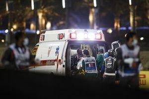 Romain Grosjean, Haas F1, dans l'ambulance