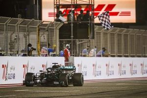 Race winner Lewis Hamilton, Mercedes F1 W11 crosses the finish line