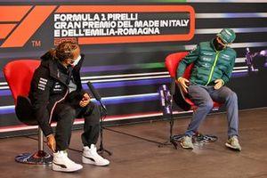 Lewis Hamilton, Mercedes and Sebastian Vettel, Aston Martin in the Press Conference
