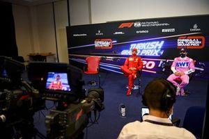 Sebastian Vettel, Ferrari and Sergio Perez, Racing Point in the press conference