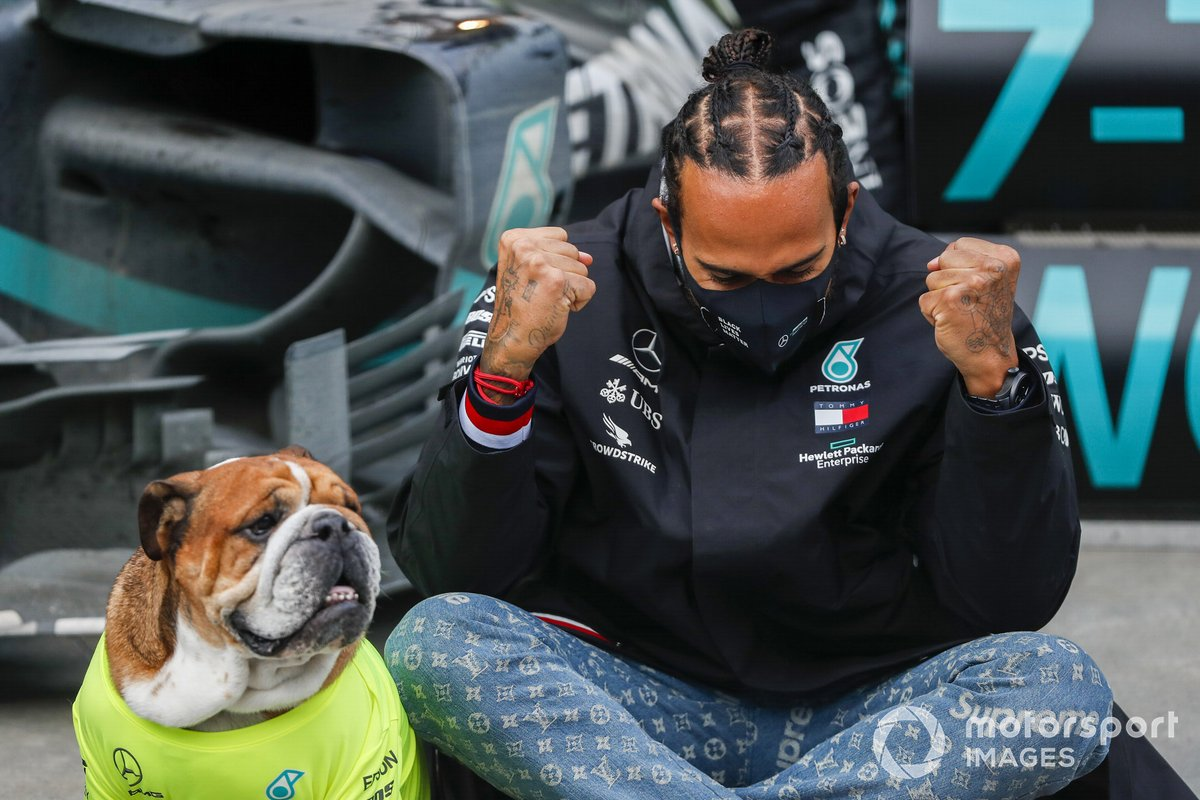 Lewis Hamilton, Mercedes-AMG F1, 1st position, his dog Roscoe, and the Mercedes team celebrate after having secured a seventh world drivers championship title