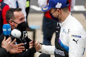 Jake Dennis, BMW i Andretti Motorsport, BMW iFE.21 celebrates in Parc Ferme