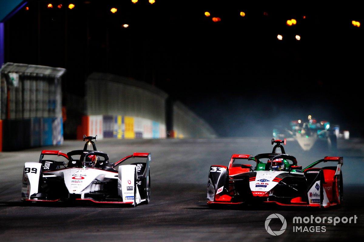 Rene Rast, Audi Sport ABT Schaeffler, Audi e-tron FE07, lotta con Pascal Wehrlein, Tag Heuer Porsche, Porsche 99X Electric