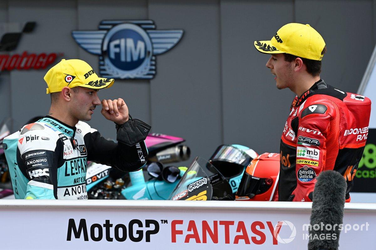 Dennis Foggia, Leopard Racing, Jeremy Alcoba, Team Gresini Moto3 parc ferme