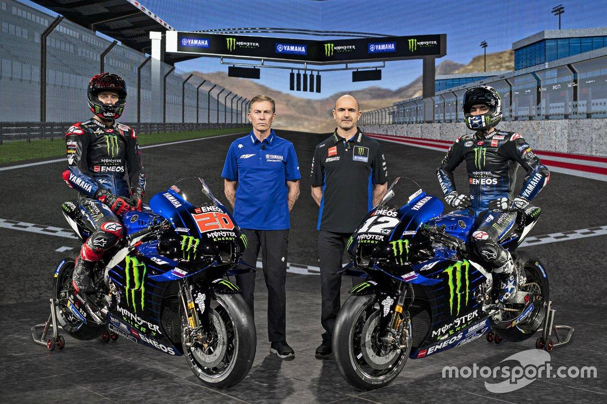 Fabio Quartararo, Yamaha Factory Racing, Lin Jarvis, director general de Yamaha en MotoGP, Massimo Meregalli, director del equipo Yamaha oficial de MotoGP, Maverick Viñales, Yamaha Factory Racing,