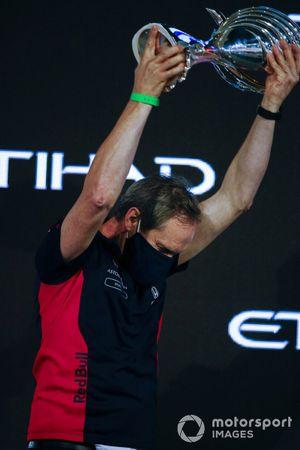 Paul Monaghan, Chief Engineer, Red Bull Racing, on the podium