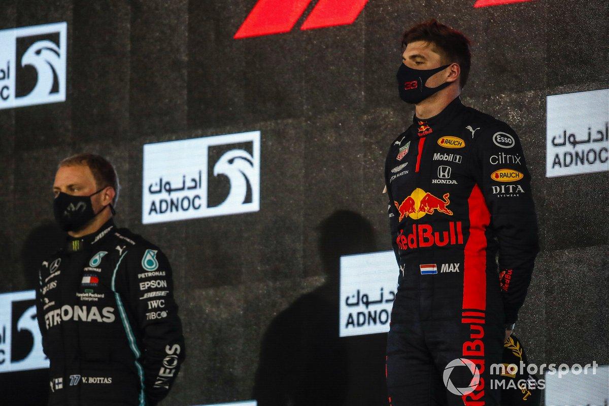 Podio: segundo lugar Valtteri Bottas, Mercedes-AMG F1, ganador Max Verstappen, Red Bull Racing