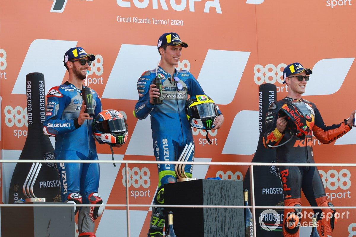 Il vincitore Joan Mir, Team Suzuki MotoGP, secondo posto Alex Rins, Team Suzuki MotoGP, terzo posto Pol Espargaro, Red Bull KTM Factory Racing