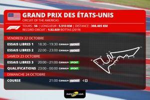 Le programme du Grand Prix des Etats-Unis