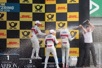 Podium: Race winner Nico Müller, Audi Sport Team Abt Sportsline, second place Robin Frijns, Audi Sport Team Abt Sportsline, third place Mike Rockenfeller, Audi Sport Team Phoenix