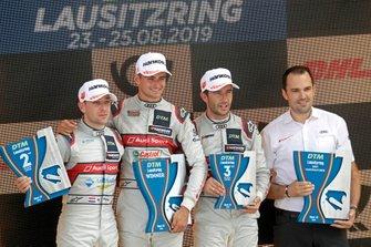 Podio: Il vincitore della gara Nico Müller, Audi Sport Team Abt Sportsline, secondo classificato Robin Frijns, Audi Sport Team Abt Sportsline, terzo classificato Mike Rockenfeller, Audi Sport Team Phoenix