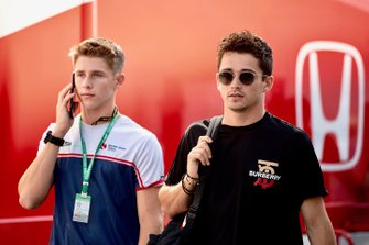 Charles Leclerc, Ferrari with his brother Arthur Leclerc in the paddock