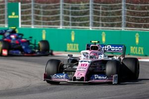 Lance Stroll, Racing Point RP19, leads Pierre Gasly, Toro Rosso STR14