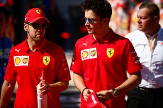 Sebastian Vettel, Ferrari, en Charles Leclerc, Ferrari