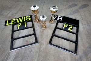 The pit boards and trophies for Mercedes AMG F1