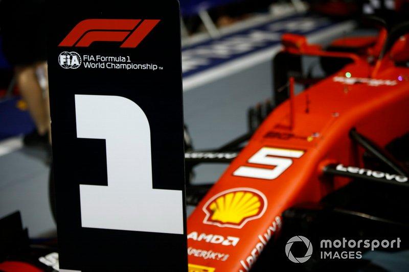 The car of Sebastian Vettel, Ferrari SF90, 1st position, in Parc Ferme