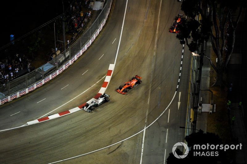 Lewis Hamilton, Mercedes AMG F1 W10, Sebastian Vettel, Ferrari SF90, y Max Verstappen, Red Bull Racing RB15
