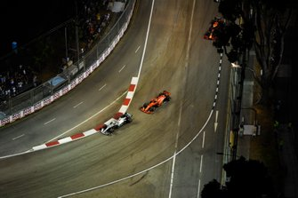 Lewis Hamilton, Mercedes AMG F1 W10, leads Sebastian Vettel, Ferrari SF90, and Max Verstappen, Red Bull Racing RB15
