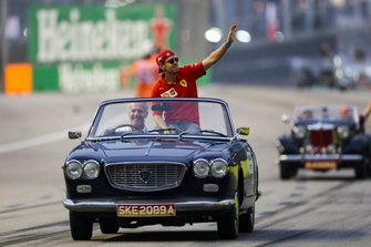Sebastian Vettel, Ferrari, on the drivers parade