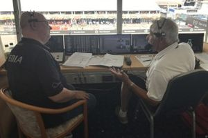 Commentator box with Bob Constanduros