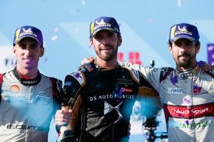 Championship winner Jean-Eric Vergne, DS TECHEETAH celebrates on the podium with Sébastien Buemi, Nissan e.Dams, 2nd position, Lucas Di Grassi, Audi Sport ABT Schaeffler, 3rd position