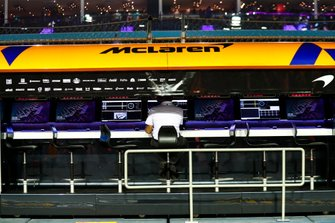 The McLaren pit wall